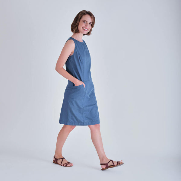 Nina Blue Denim Pinafore Dress