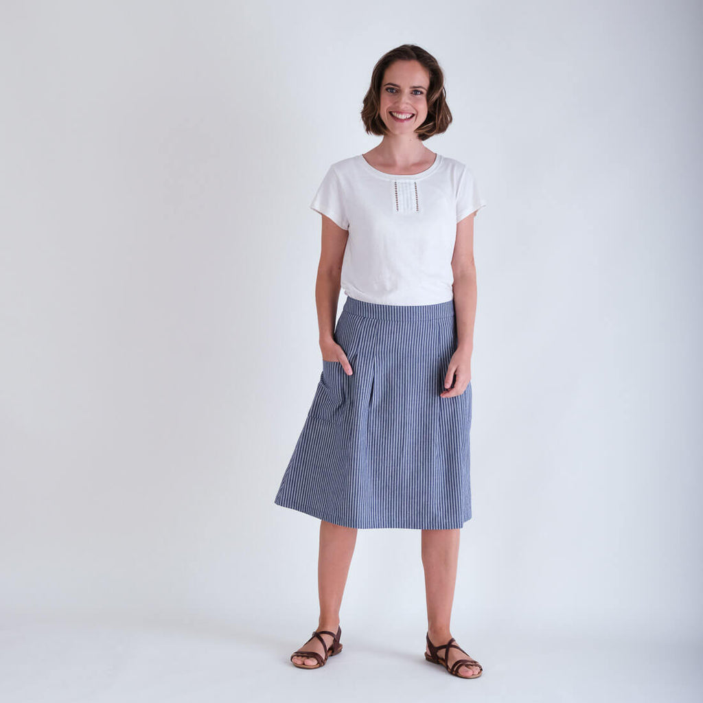 Eve Blue Striped Cotton Skirt