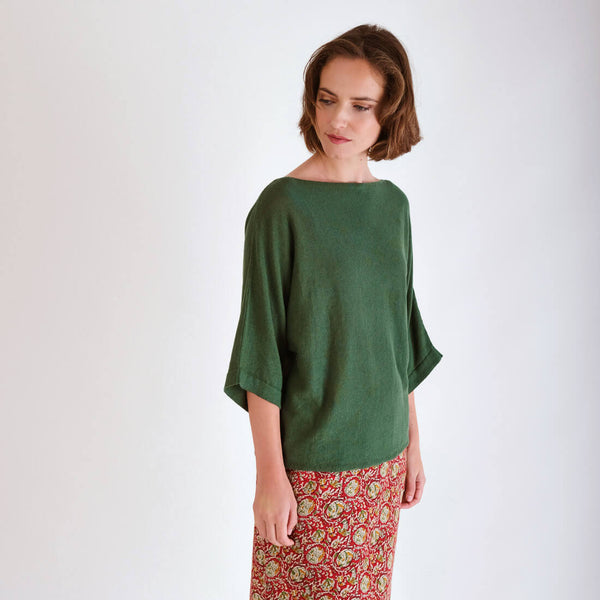Kira Relaxed Green Linen Jumper