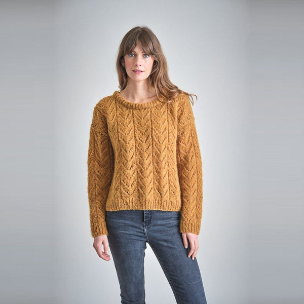Mustard coloured hand knitted wool jumper