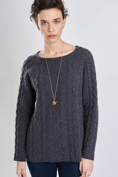 Classic Grey Cable Knit Jumper - BIBICO