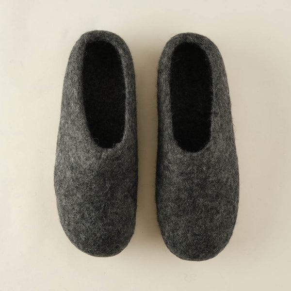 dark grey wool slippers