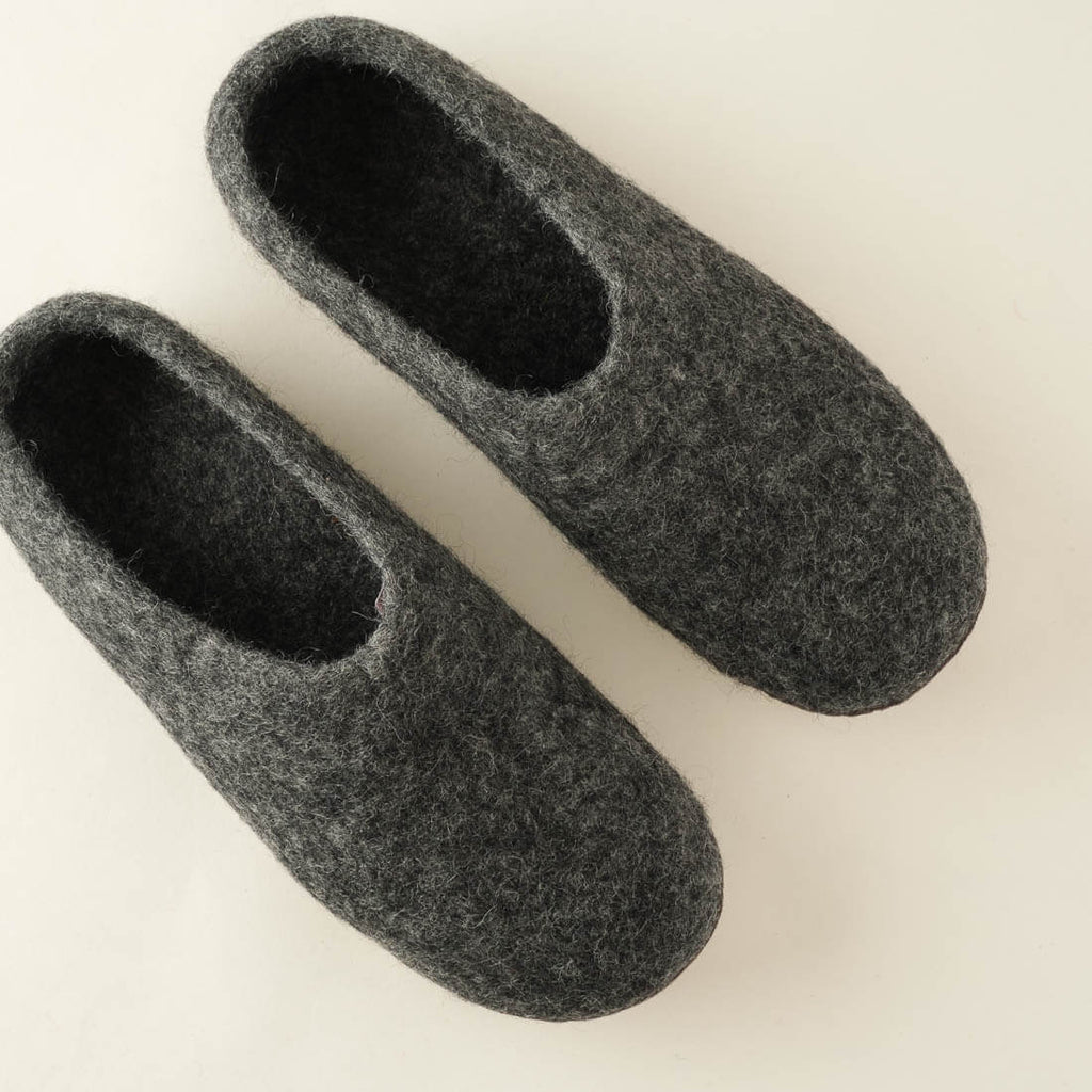 dark grey wool felted slippers
