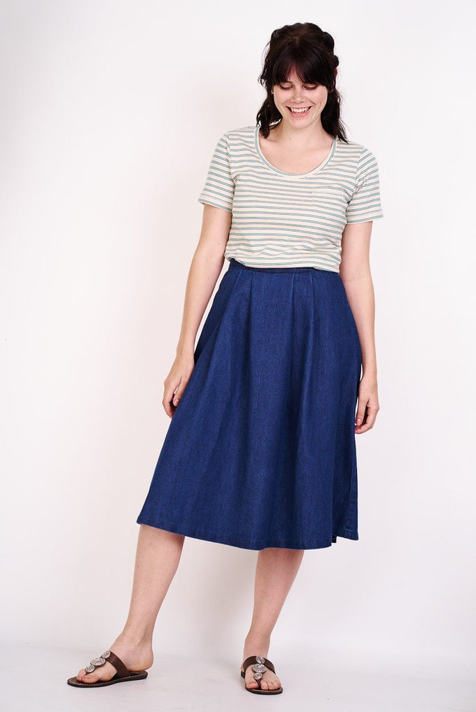 Denim Midi Skirt - BIBICO