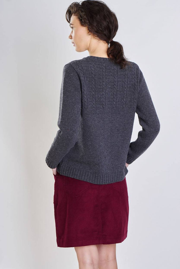 Elena Grey Wool Cardigan - BIBICO