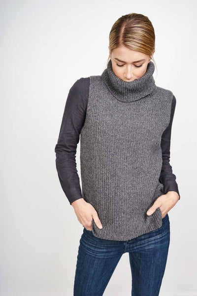 Elsa Sleeveless Grey Turtle Neck Jumper - BIBICO