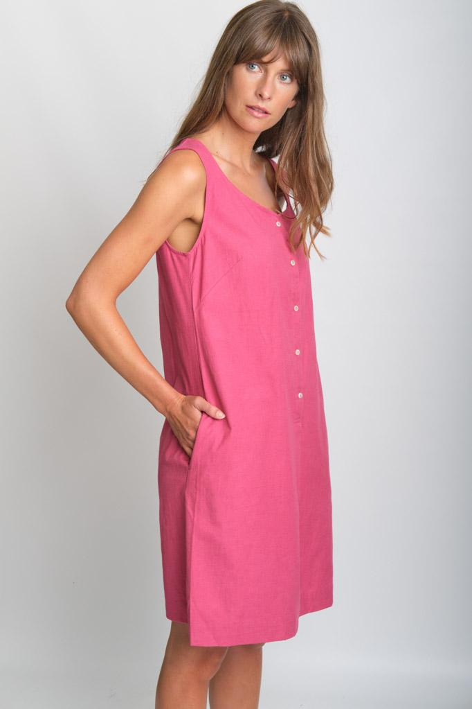 Erine Watermelon Sleeveless Linen Dress - BIBICO