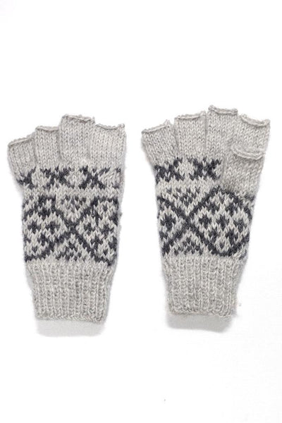 Fair Isle Finger-Less Wool Mittens - BIBICO