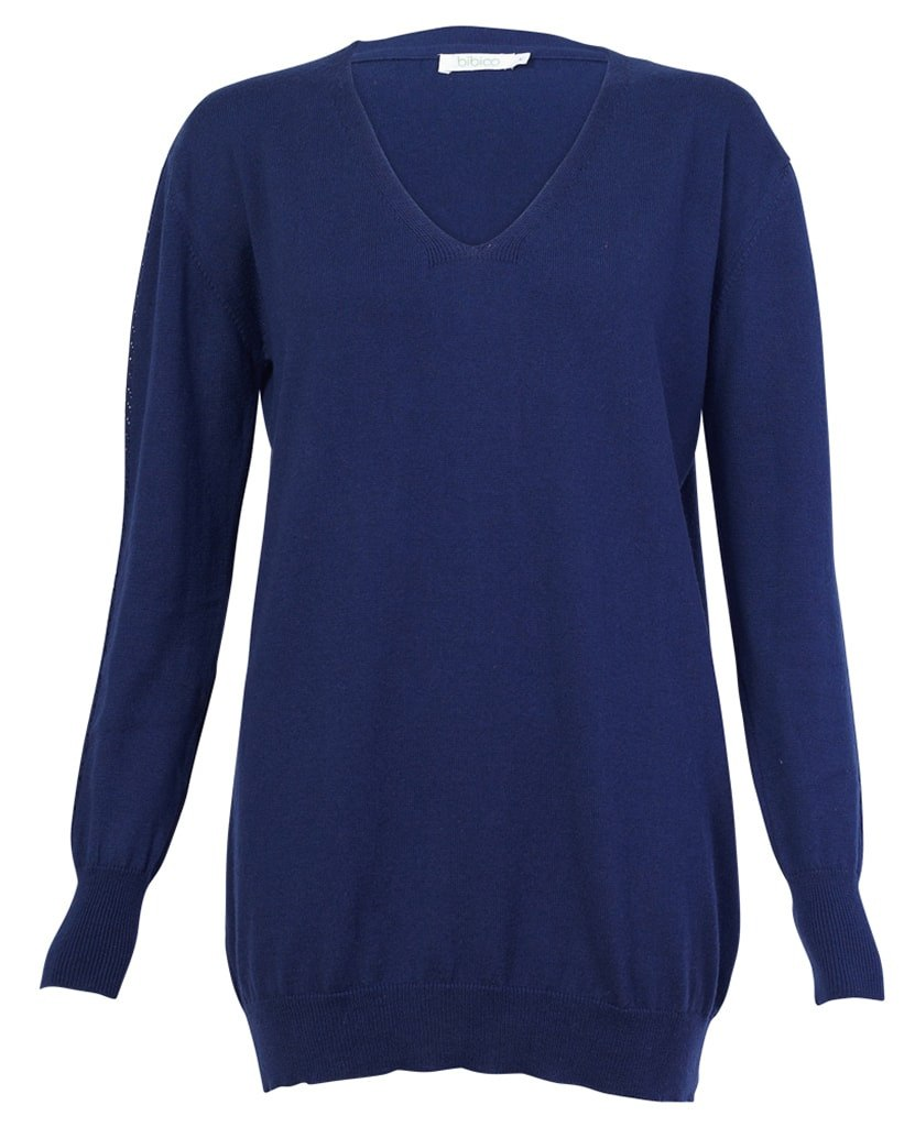 Fine Knit V Neck Navy Jumper - BIBICO
