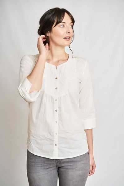 Florence Collarless Blouse - BIBICO