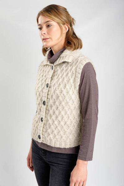 Gina Hand Knitted Wool Vest - BIBICO