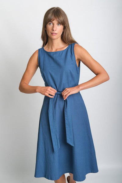 Grace Blue Sleeveless Swing Dress - BIBICO