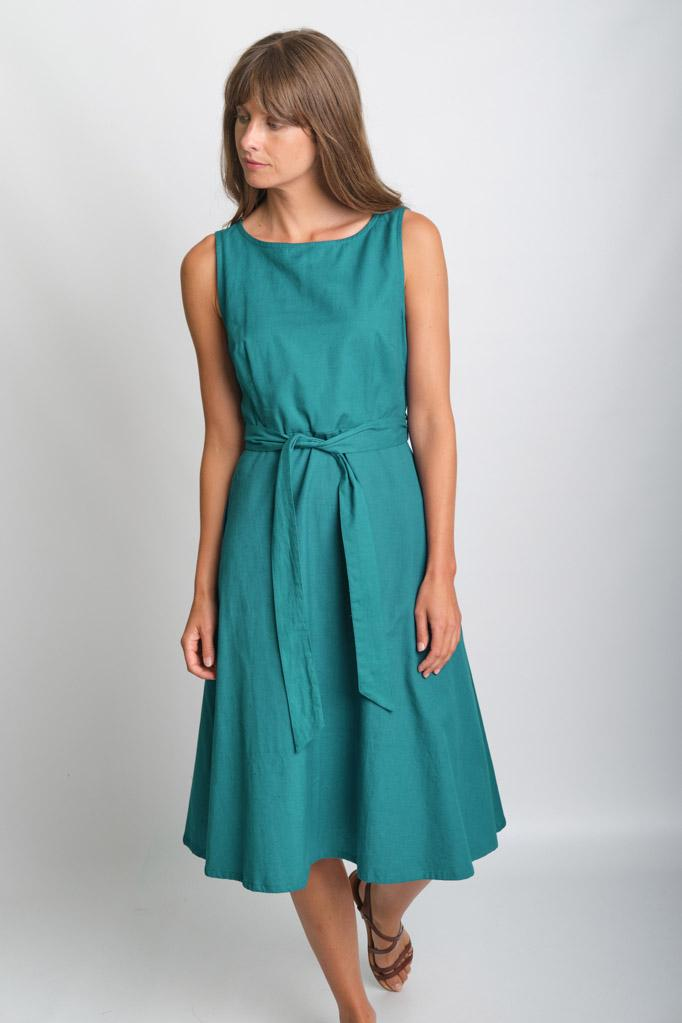 Grace Emerald Sleeveless Swing Dress - BIBICO