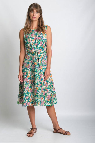 Grace Floral Print Cotton Sleeveless Summer Dress  - BIBICO