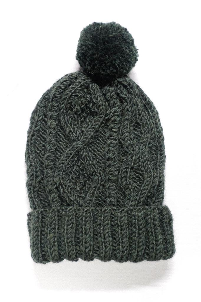 Green Knitted Bobble Hat - BIBICO