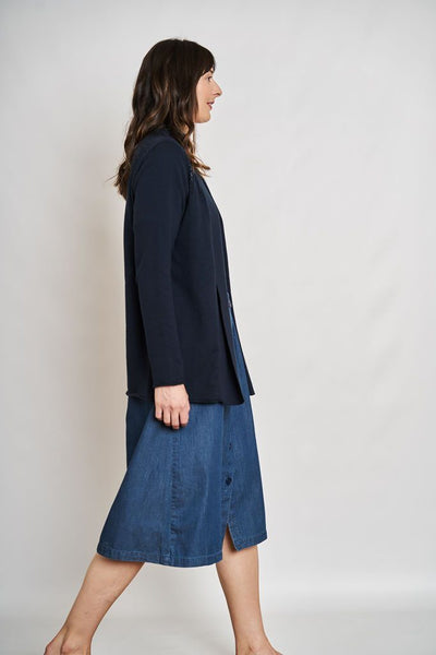 Greta Button Through Denim Skirt - BIBICO