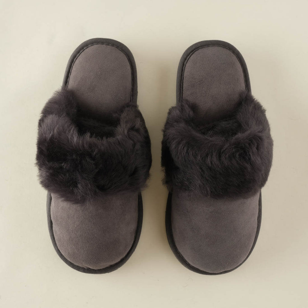 grey sheepskin slip on slippers