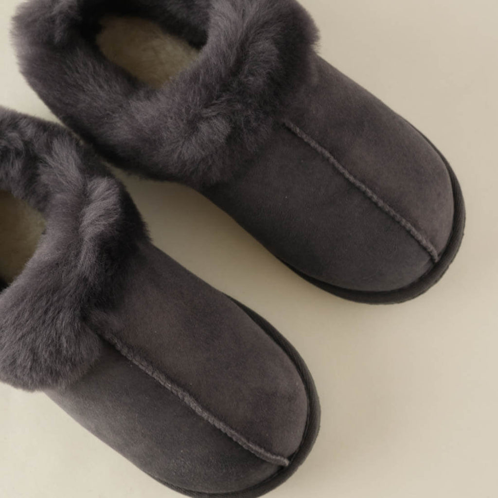 grey sheepskin wool booties