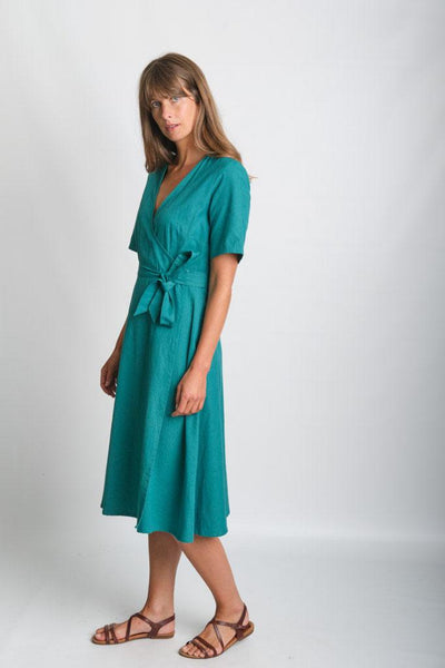 Ida Emerald Wrap Dress - BIBICO
