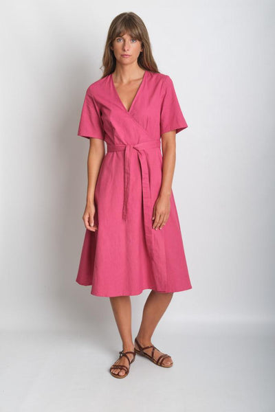 Ida Coral Coloured Wrap Dress - BIBICO