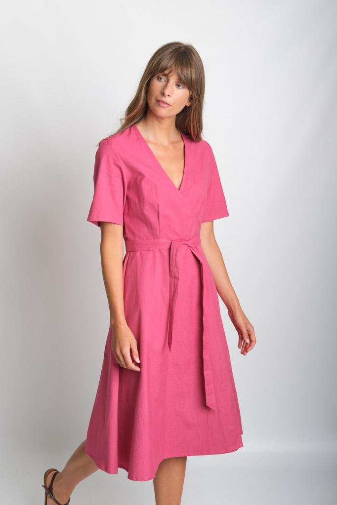 Ida Watermelon Wrap Dress - BIBICO
