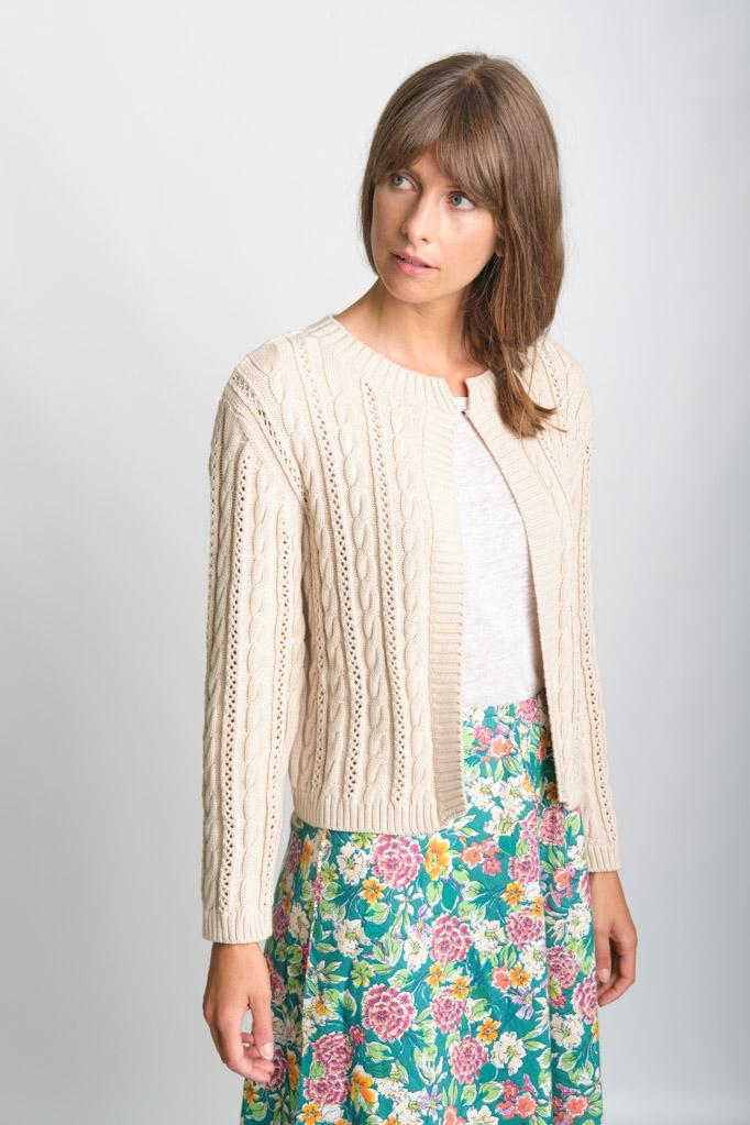 Kate Cropped Aran Cotton Cardigan - BIBICO