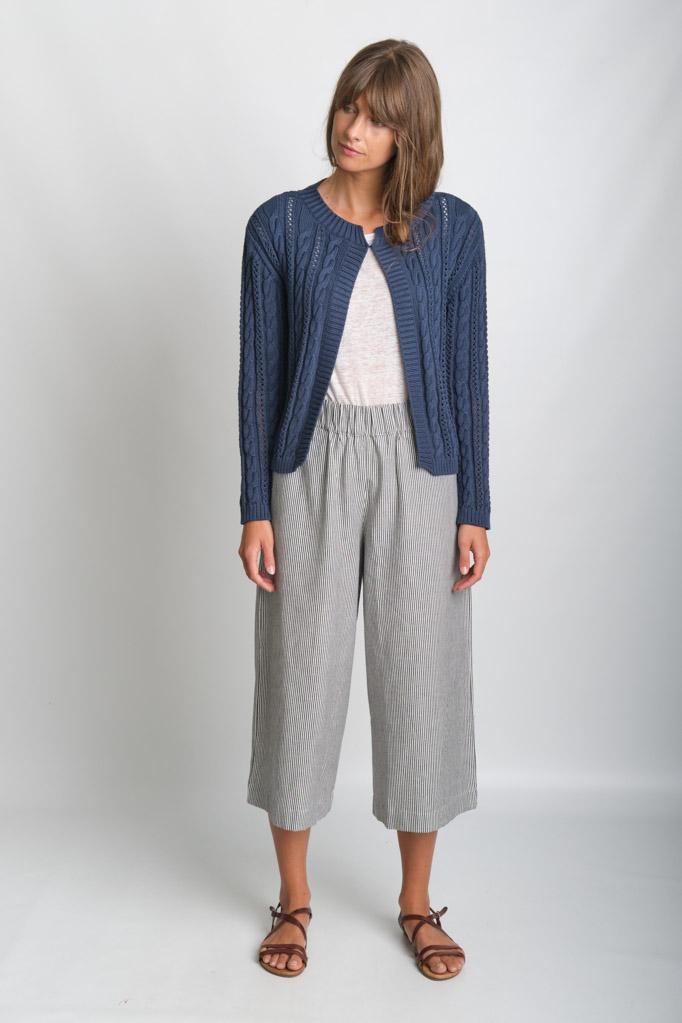 Kate Navy Cropped Aran Cotton Cardigan - BIBICO