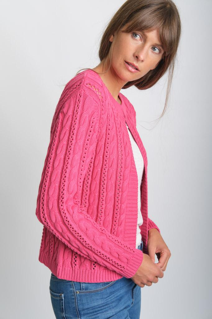 Kate Watermelon Cropped Aran Cotton Cardigan - BIBICO