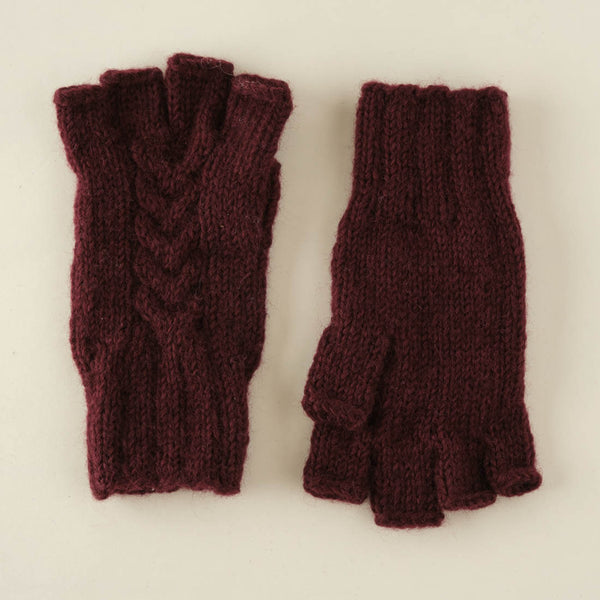 Lena Finglerless Hand Knitted Gloves - plum colour
