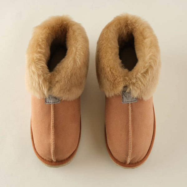 light brown sheepskin wool booties