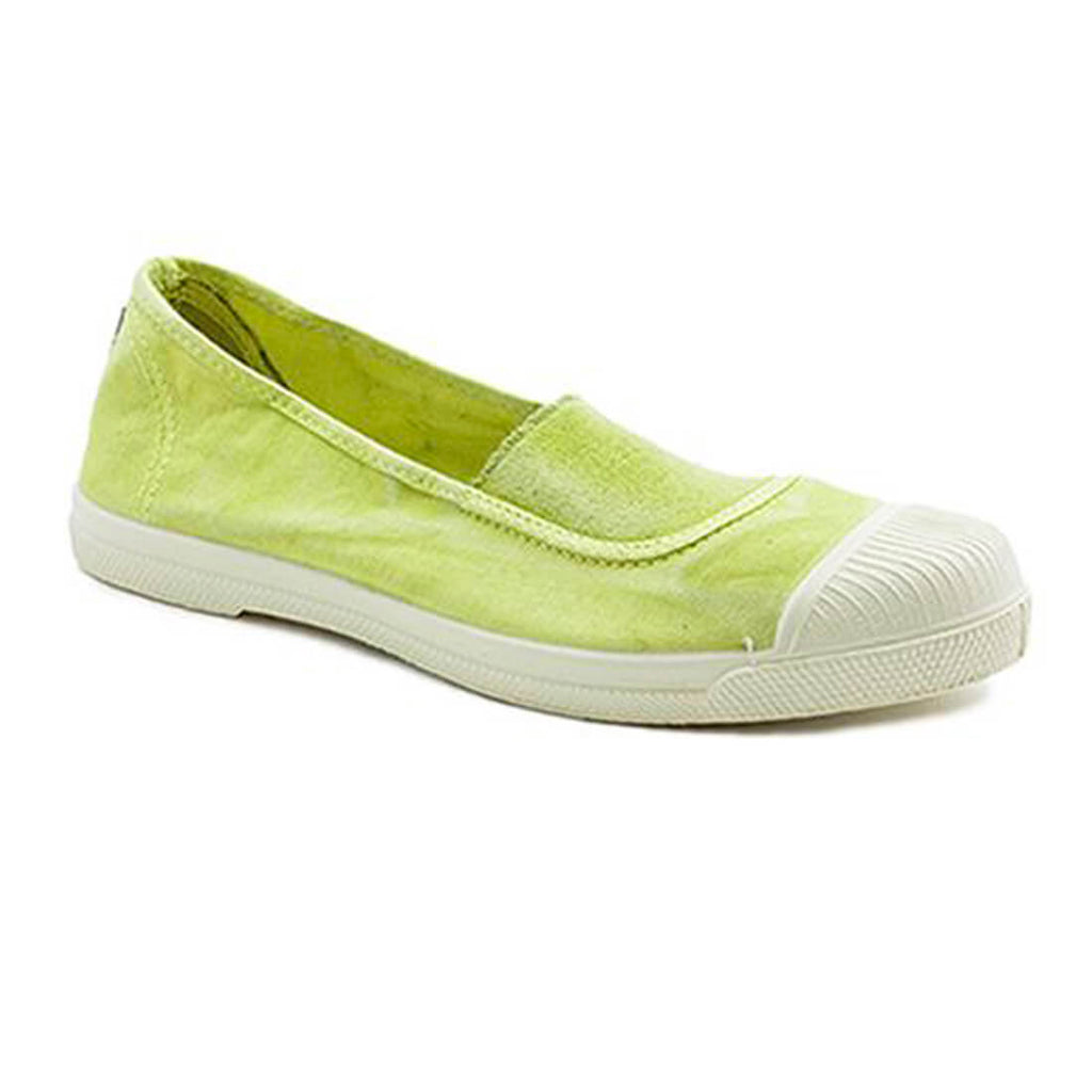 lime coloured cotton slip on plimsolls