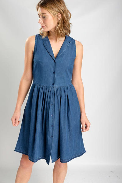 Lola Denim Tea Dress - BIBICO