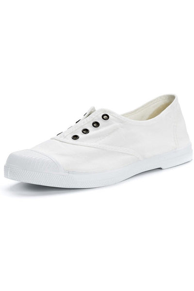 Lola White Cotton Plimsolls - BIBICO