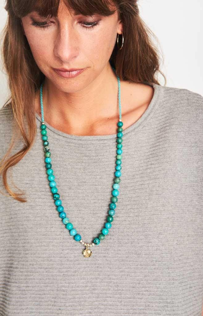 Lotus Turquoise Charm Necklace - BIBICO