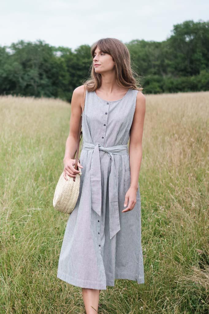 Margot Stripe Linen Dress - BIBICO