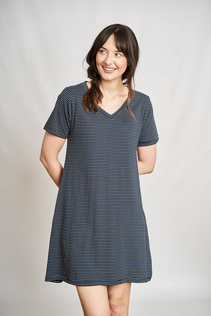 Maya Organic Striped Day Dress - BIBICO
