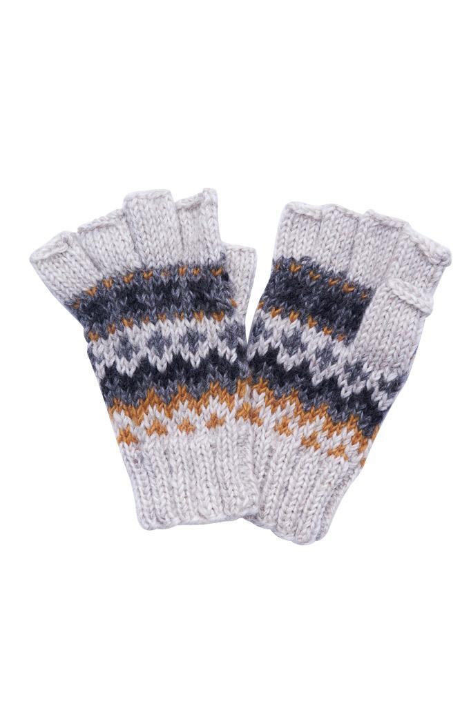 Mens Fair Isle Fingerless Glove - BIBICO