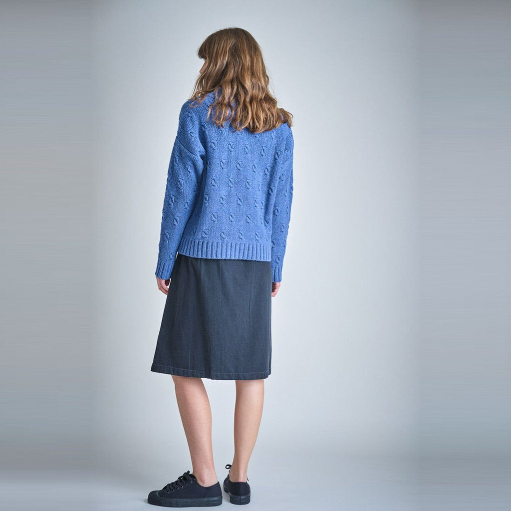 Mina Buttoned Through Denim Skirt Bibico