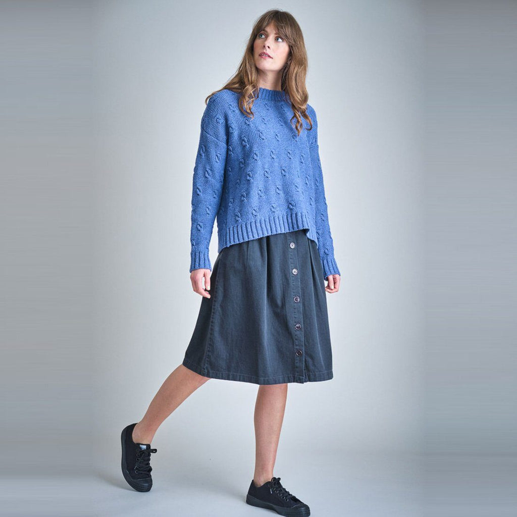 Mina Buttoned Through Denim Skirt dress BIBICO