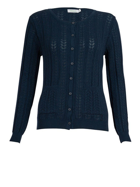 Navy Pointelle Cardigan - BIBICO