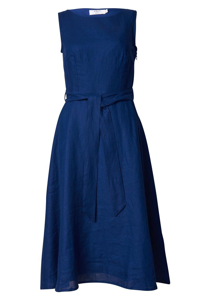 Navy Sleeveless Linen Dress - BIBICO