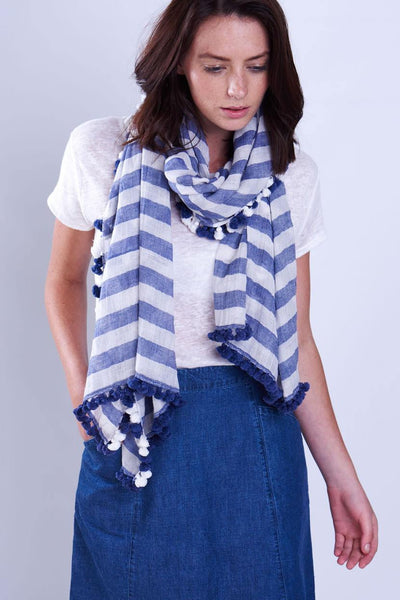 Navy Striped Pom-Pom Scarf - BIBICO