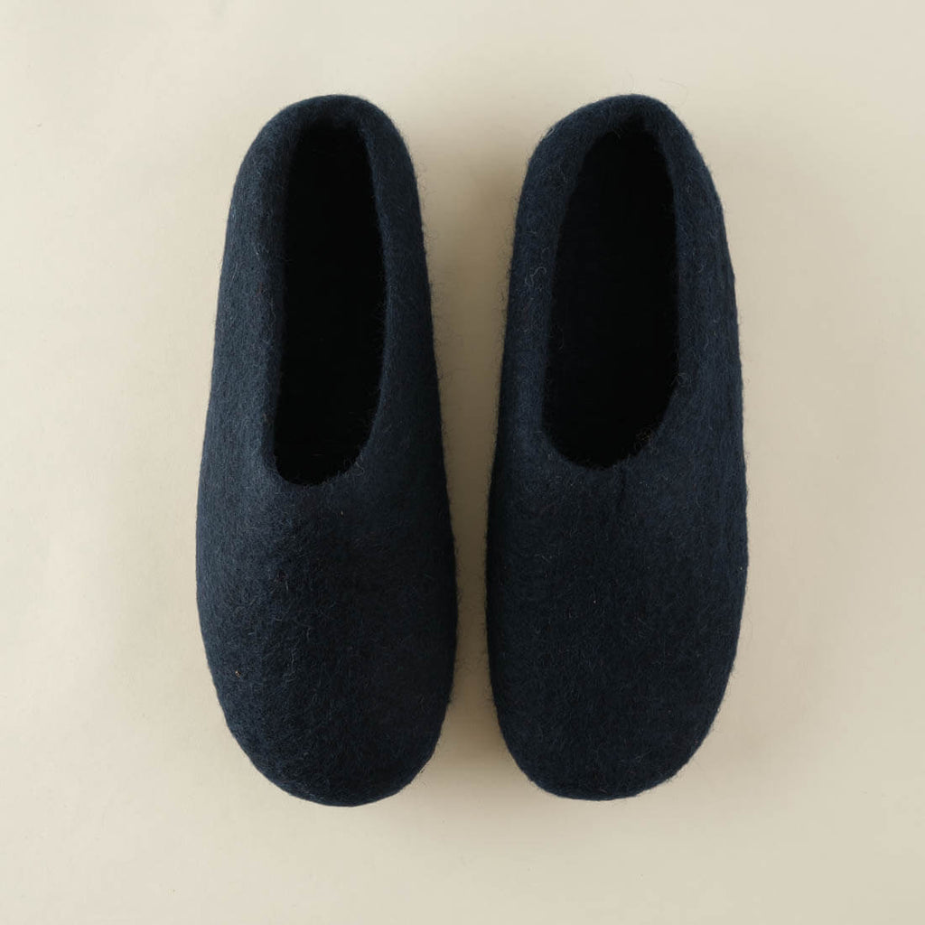 navy wool felted slippers by BIBICO