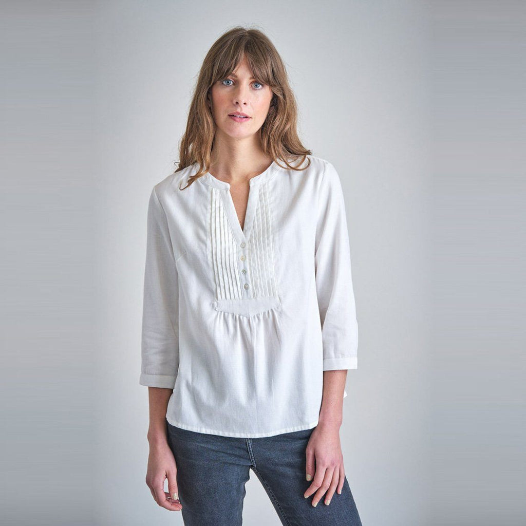 Olga Cream Pleated Cotton Blouse | by BIBICO