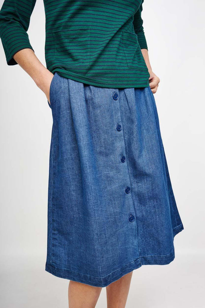 Oralie Denim Midi Skirt - BIBICO