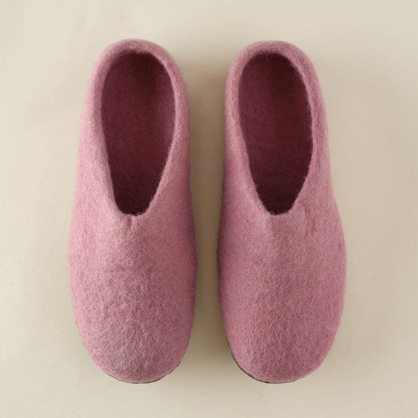 soft pinked felted wool slippers