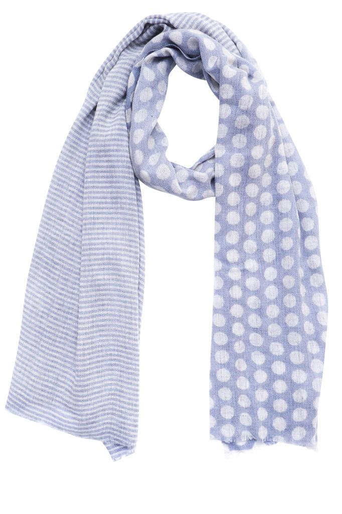 Polka Dot Blue Wool Scarf - BIBICO