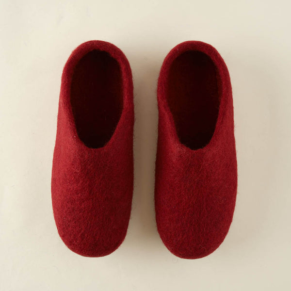 red wool felted slippers