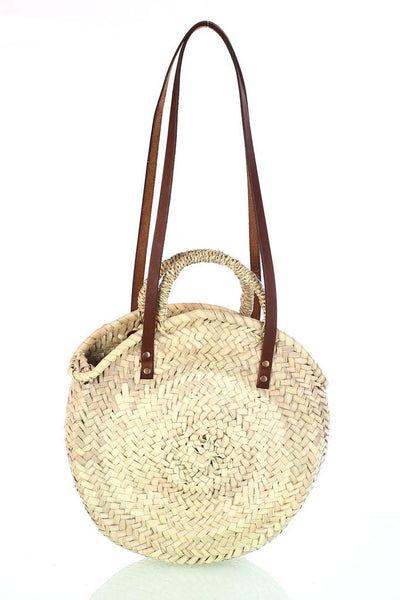Round Straw Shopping Basket - BIBICO