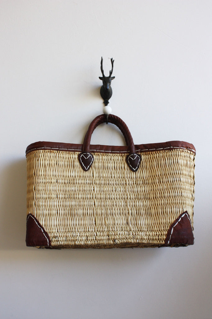 Short Handled Straw Beach Basket - BIBICO